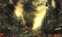 Stadtbrände, die durch Krieg ausgelöst wurden